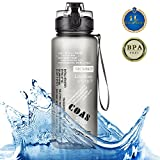 Tomppow Trinkflasche 1l Wasserflasche Sport Bpa Frei Tritan Kunststoff Schule Sportflasche für Laufen, Yoga, fitness,Fahrrad,öffnet sich mit 1-Click mit Sieb mit dicht schließendem Deckel