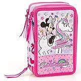 Inacio Disney Minnie Mouse XL Sac à Crayons, Trousse, Pochette, Trousse à Crayons, Étui 44 Parties, Licorne
