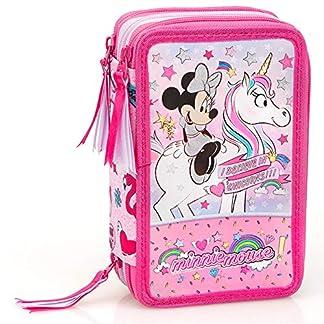 Inacio Disney Minnie Mouse XL Bolsa de Primavera, Bolsa de Plumas, Plumero, Estuches, Caja de Lápices, Estuche 44 Piezas, Unicornio