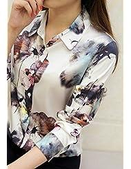Camisas de seda pesadas en primavera y verano mujer delgada seda camisa manga larga impresión blusa de seda,M,Matar con intriga