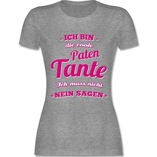 Schwester & Tante - Ich bin die coole Patentante - tailliertes Premium T-Shirt mit Rundhalsausschnitt für Damen Grau Meliert