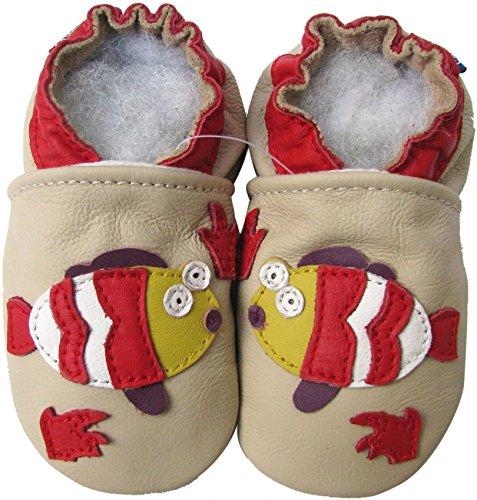 Carozoo Fisch Creme Soft Sohle Leder Baby