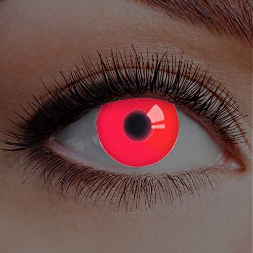 Farbige Kontaktlinsen Rot Ohne Stärke mit Motiv Linsen Halloween Karneval Fasching Cosplay Kostüm Red Eyes Rote Augen UV Glow Red In Your Eyes