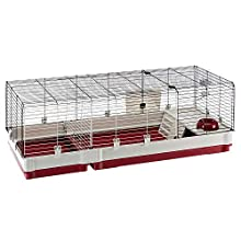 Ferplast rabbit cage Krolik 140 guinea pigs and small animals house, in assembly kit. Separable extension through metallic grill, accessories are included, 142 x 60 x h 50 cm Bordeaux