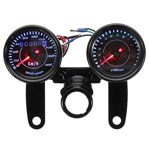Alamor Universal Led Motorrad Schwarz Tachometer + Tachometer Gauge W/Halterung