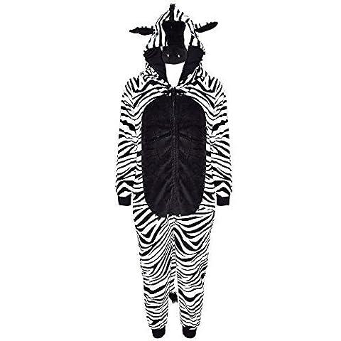 Kinder Mädchen Jungen Weich Flauschig Animal Affe Gorilla Leopard Schädel Camofulage Wolf Onesie Kostüm - Jungen, Zebra, 9-10