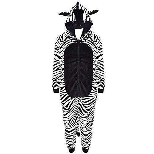 Für Kostüme Gorilla Jungen (Kinder Mädchen Jungen Weich Flauschig Animal Affe Gorilla Leopard Schädel Camofulage Wolf Onesie Kostüm - Jungen, Zebra, 9-10)