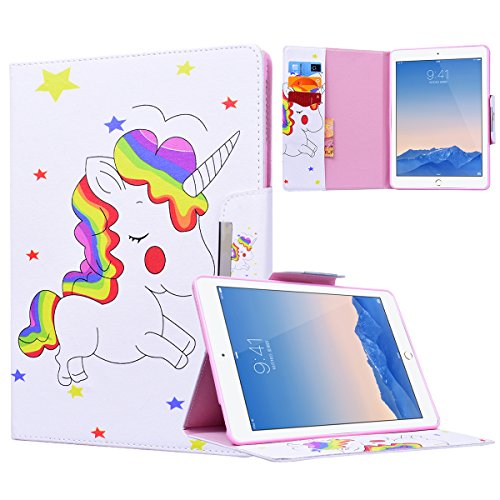 Yokata Apple iPad Air 2 / iPad 6 Hülle Case Schutzhülle Tasche mit Standfunktion und Auto Sleep / Wake Up Funktion Slim Ultra Dünn Hochwertiges PU Leder Etui Ledertasche für iPad Air 2 / iPad 6 (9,7 Zoll) Tablet Etui - Regenbogen und Pferd