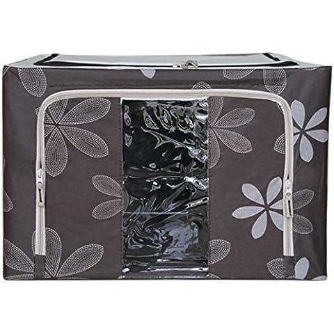 Sovradimensionato telaio in acciaio Oxford tessuto storage pieghevole coperta di scatola portaoggetti abbigliamento scatole Ordinamento intimo trasparente portaoggetti,66L,caffè, Sun Flower