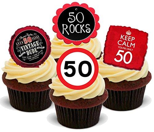 50. Geburtstag rot schwarz Mix - 12 essbare Standup Kuchen-Deko, Kuchendekorationen, essbar, Premium, 2 x A5, für 12 Bilder