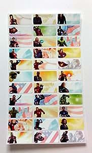 33 MINI Stickers Étiquettes Autocollants 1,3 CM X 3 CM POUR VOS LIVRES, CLASSEURS ET CAHIERS NEUF à l'effigie de Marvel Avengers