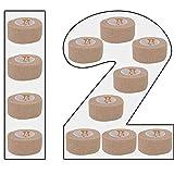 12 Stück Hautfarbene kohäsive Bandage Fixierbinde Selbsthaftend Elastisch 2,5 cm breit x 4,5 meter dehnbar Fingerverband Zehenverband, 6er Set Fingerverband, Pflasterverband, Fingerpflaster