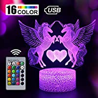 Unicorn Gift Unicorn Night Light for Kids, 3D Light lamp 7 Colors Change with Remote Holiday and Bir (Unicorn3)