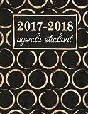 Agenda étudiant: Planning scolaire hebdomadaire : cercles dorés brillants sur noir