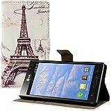 kwmobile Wallet Case Kunstlederh�lle f�r LG Optimus L9 - Cover Flip Tasche in Eiffelturm Design mit Kartenfach und St�nderfunktion in Schwarz Wei�