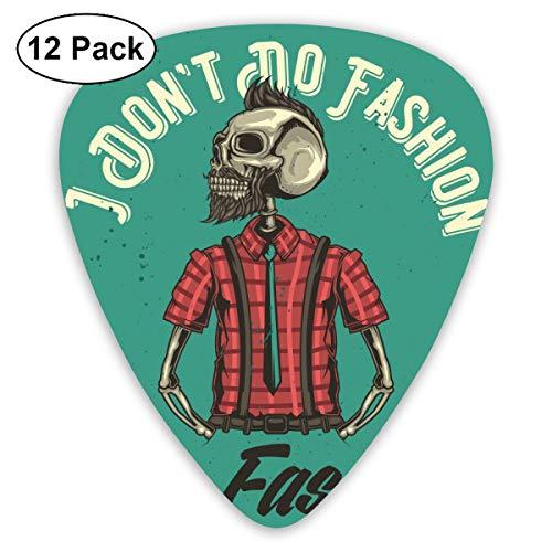 Cavdwa Illustration von Hipster's Skelett Personalisierte 12-teilige Gitarrenplektren 0,96 mm, 0,71 mm, 0,46 mm Mode für Gitarre, Bass und E-Gitarre