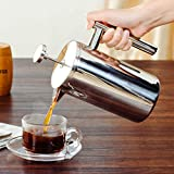 KITCHY French Press Coffee Maker Double Walled Stainless Steel Espresso Coffee Tea Pot With Coffee Filter Baskets 350/800 / 1000ML: 350ML