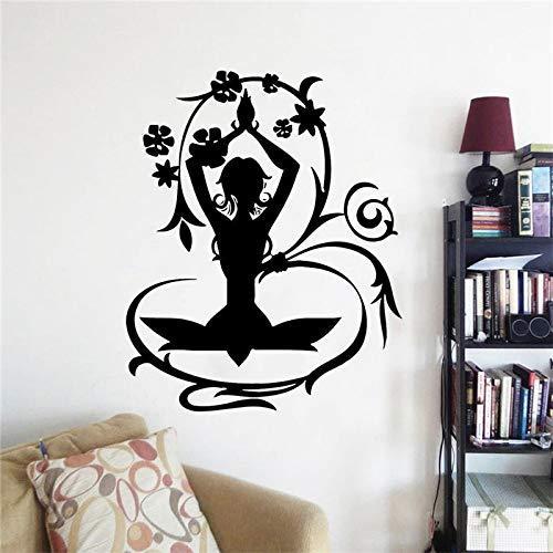 42x52 cm yoga stellt kreative vinyl hause schlafzimmer dekor yoga fitness frauen wandaufkleber abnehmbare vinyl yoga wandkunst aufkleber Swift Chopper