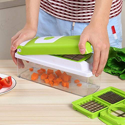 Vegetable /& Fruit Cutter 12 Pieces Unbreakable Container Food Dicer Green