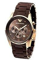 Reloj Emporio Armani AR1421 de cuarzo unisex con correa de caucho, color marrón de Emporio ARMANI