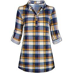Cestyle - Camisas - para Mujer Azul Cuadros M