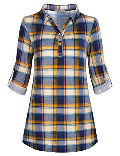 Cestyle Krierte Bluse Damen Blau,Frauen Elegant Herbst Kleidung Mode Gemütlich Langärmeliges Shirt Einfarbig Party Blau Kariert Medium M - Schwarz Plaid-taste Nach Unten Shirt