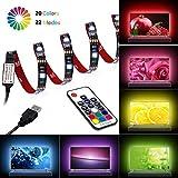 Qedertek Luci per TV Retroilluminazione 2M 60 LED, Luci Striscia GRB con 17key Telecomando, Cavo di USB, Dimmerabile, Striscia LED per la TV da 40-60 pollici (4 Strisce LED da 50 cm)