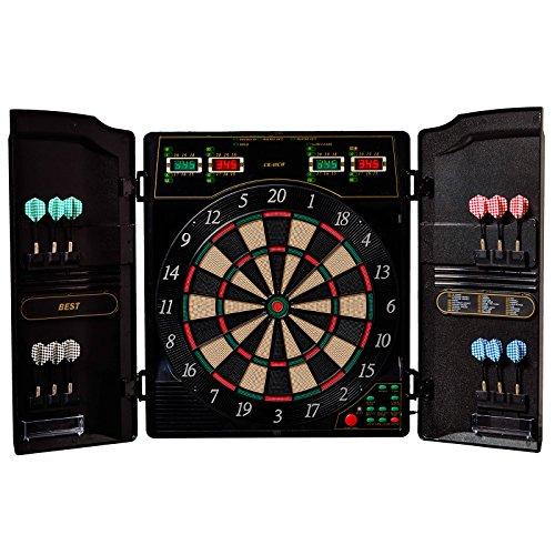 Best Sporting elektronische Dartscheibe OXFORD 1.0, LED Dartautomat Cabinet mit 12 Dartpfeilen, Ersatzsspitzen und Netzteil