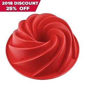 SveBake Bundt pan 1A - Tortiera Silicone, Stampo per Chiffon Cake Muffa Spiral in Silicone, Rosso, 25 cm