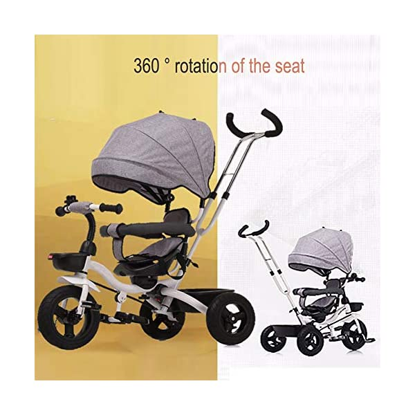 GSDZSY - Children Tricycle Foldable, Detachable Putter And Fence, Waterproof And UV Protection Awning, Rubber Wheel, Suitable For 1-5 Years Old Baby GSDZSY ❀ Material: High carbon steel + ABS + rubber wheel, suitable for children from 6 months to 6 years old, maximum load 30 kg ❀ Features: The height of the push rod can be adjusted, the seat can be rotated 360; the adjustable umbrella can be used for different weather conditions ❀ Performance: high carbon steel frame, strong and strong bearing capacity; rubber wheel suitable for all kinds of road conditions, good shock absorption, seat with breathable fabric, baby ride more comfortable 3