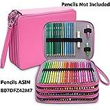 Estuche grande de piel sintética con 184 ranuras para lápices de colores, organizador de lápices impermeable, estuche de 4 capas para lápices rosa (b)