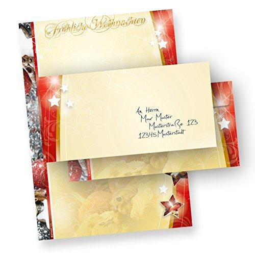 Motivpapier Weihnachten.Motivpapier Weihnachten 1 Seitig 250 Sets Ohne Fenster Briefpapier