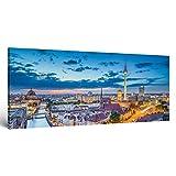 """ge-Bildet® Bild auf Leinwand MIT SOMMER RABATT Stadtbilder Panorama """"Berlin Skyline - Deutschland"""" Stadtbild Städtebild - 120x50 cm einteilig 2211 A"""