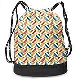 werert Diagonally Striped Squares Retro Tile Fitness Drawstring Bag Gym Bag Sport Bag for Men Women