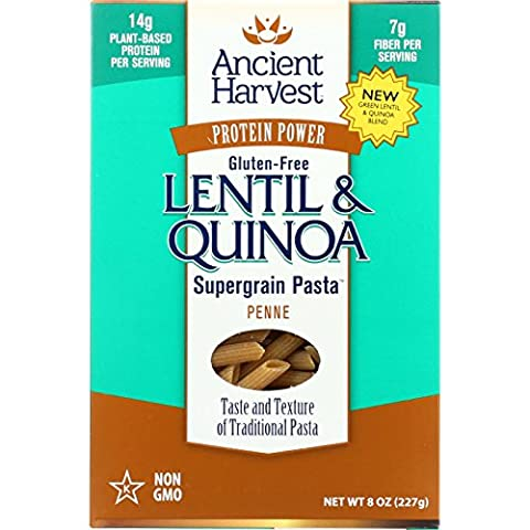 Ancient Harvest Pasta Supergrain Green Lentil and Quinoa Penne Gluten Free 8 oz case of 6