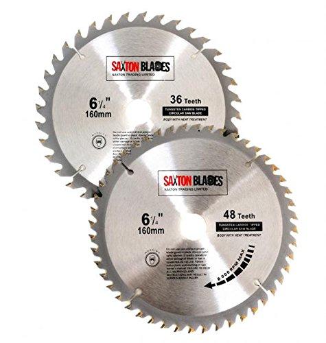 2x Saxton TCT rund Holz Sägeblätter 160mm x 20mm passt für Festool TS55Bosch Makita Pack a 165mm Lochsägen
