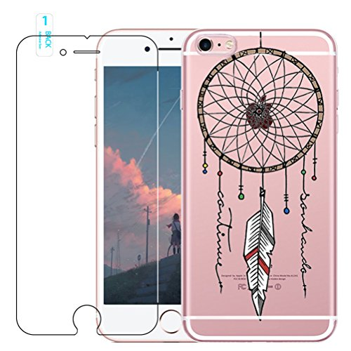 Coque iPhone 6 Plus / 6S Plus avec Verre Trempé, blossom01 Cute Motif Dreamcatcher Premium TPU Souple Etui de Protection [absorbant les chocs] [Ultra mince] [Anti-rayures] pour iPhone 6 Plus / 6S Plus #04