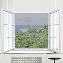 Rabbitgoo malla para ventana malla de mosquitera Malla Contra Insectos mosquitera para ventana Color Negro tamaño130cm*150cm con 2 rollos de cinta de ganchos