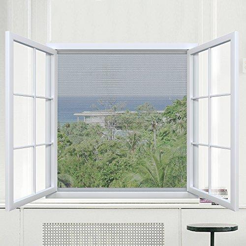 Rabbitgoo Fliegengitter für Fenster Mückennetze Moskitonetz Gaze Fenster Insektenschutz, selbstklebend, Klettverschluss, anthrazit, durchsichtig, 1,3m x 1,5m