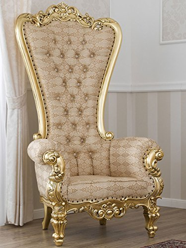 Sillón Regina Estilo Barroco Frances Trono Color Hoja Oro Tela Damasco Marfil y Oro Botones...