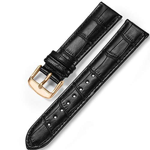 iStrap Uhrenarmbänder Band 12/13/14/15/16/17mm 18mm 19mm 20mm 21mm 22mm 24mm Guine Lederarmband mit Krokodilmuster - Schwarz Braun Gold