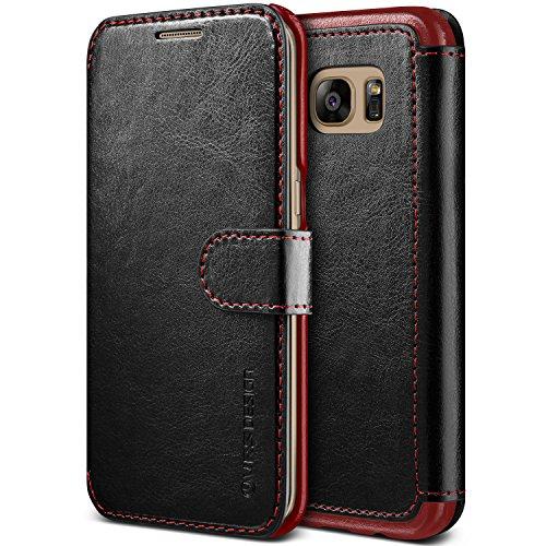 Samsung Galaxy S7 Edge Hülle, VRS Design® Leder Schutzhülle [Schwarz] Handgefertigt Leder Cover Prämie PU Ledertasche Etui Stoßsichere Lederhülle Brieftasche Case mit 3 Kartenfach [Layered Dandy] für Samsung S7 Edge (2016) (Design-cover Schwarzes)