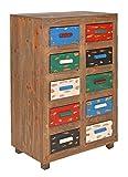 ts-ideen Kommode Regal Schrank Vintage Antik Shabby Design Used Style Braun mit 10 bunten Schubladen