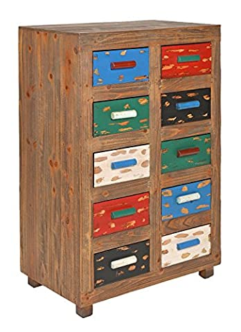 Commode Cabinet Vintage Antique Shabby design style 10 tiroirs colorés bleu vert rouge blanc noir