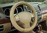 #7: NIKAVI Car Steering Wheel Cover, Microfiber, Emboss Holes, Soft Padding Great Hand Feel, Anti-slip Matte Finish, 15 Inch Middle Size - beige Line
