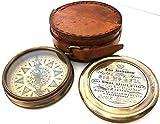 Coleccionable de latón brújula con funda de piel