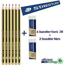 Staedtler Noris 1202B–Lápices de grafito–Juego de 6lápices + 2Gomas de borrar Mars Plastic Staedtler