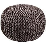 Moycor 763013.0 - Puff crochet redondo, color marrón, 45x45x35 cm