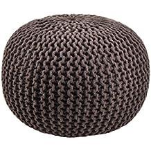 Moycor 763013.0 - Puff crochet redondo, 45 x 45 x 35 cm, color marrón chocolate