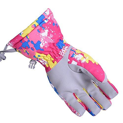 Bwiv Unisexe Gants de Ski Zip Poche Etanche Extérieur Gants d'hiver Thermique pour le Ski, le Camping Rose camouflage